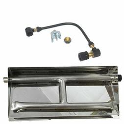 """Complete Kit 32"""" Fireplace Dual Burner NG or LP Stainless St"""