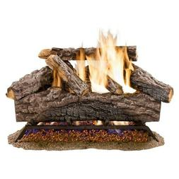 18 in. Vented Natural Gas Fireplace Log Set Oak Logs Fire He